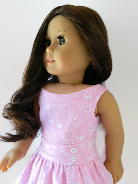 American Girl Doll Clothes Pink and White Cotton by 18Boutique