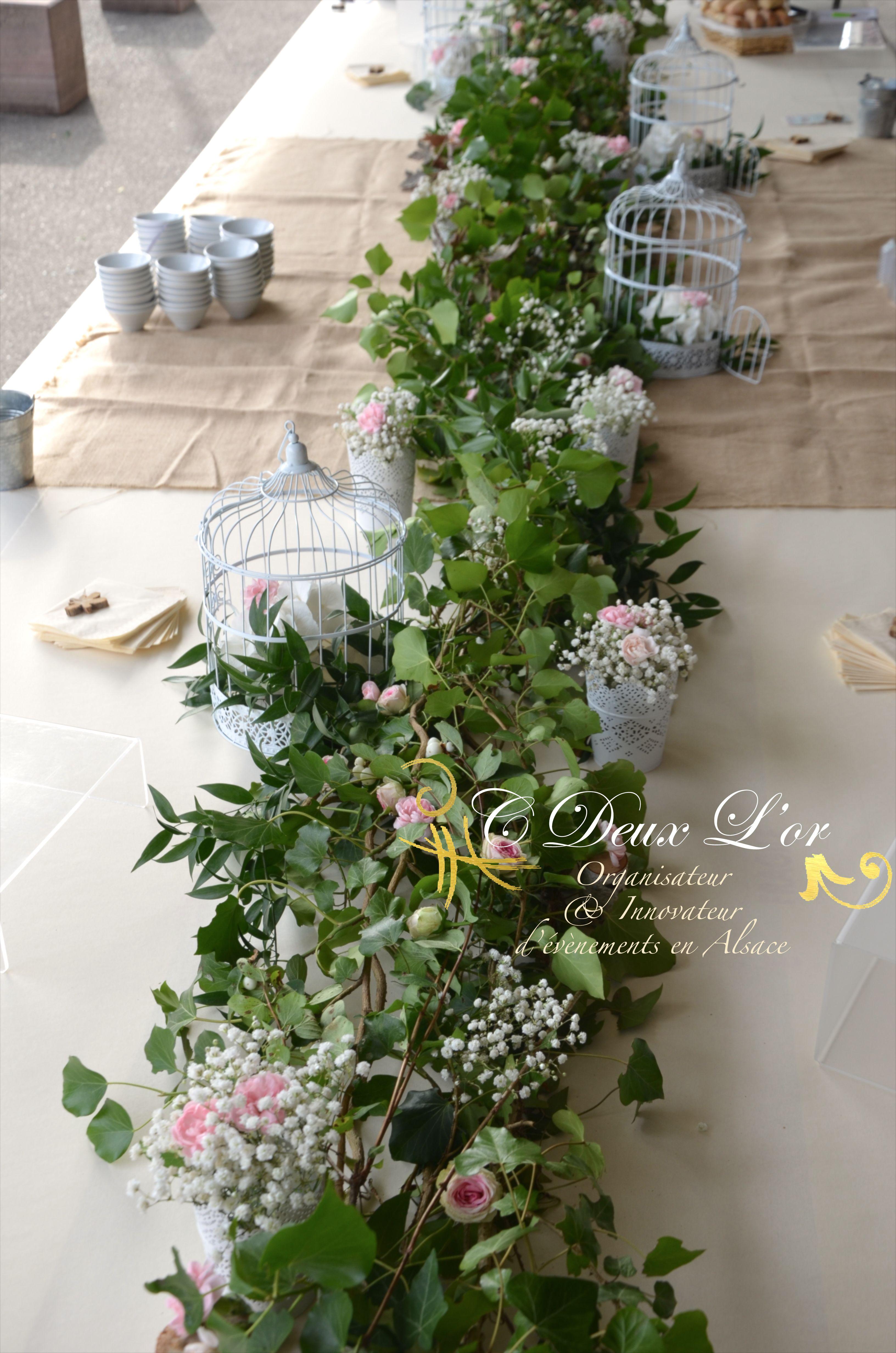 Mariage Nature Décoration Chemin de table Feuilles Fleurs