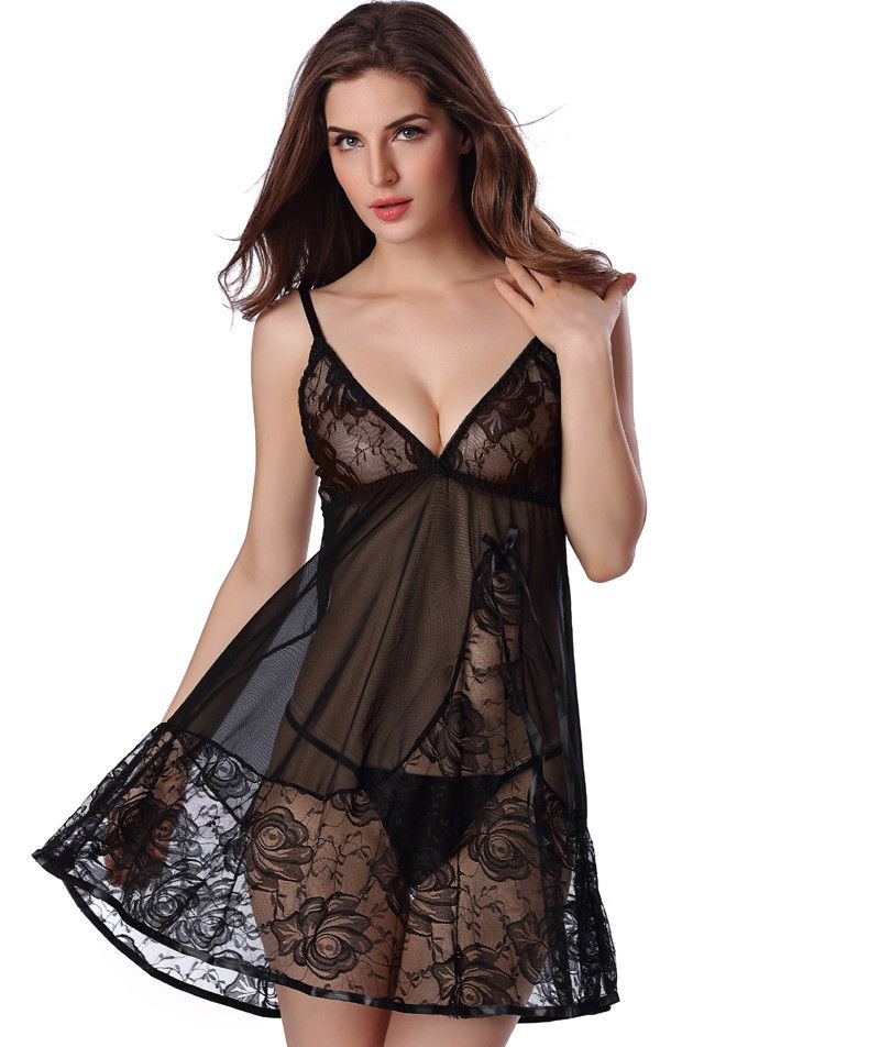 acf6b11583d Black Color Large Plus Size Sexy Nightgowns Cute Night Dress Women Romance  Lingerie Negligee for Wedding Night S6451