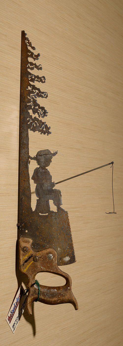 Metal Art Rustic plasma cut Young Boy Fishing near a tree hand saw ...