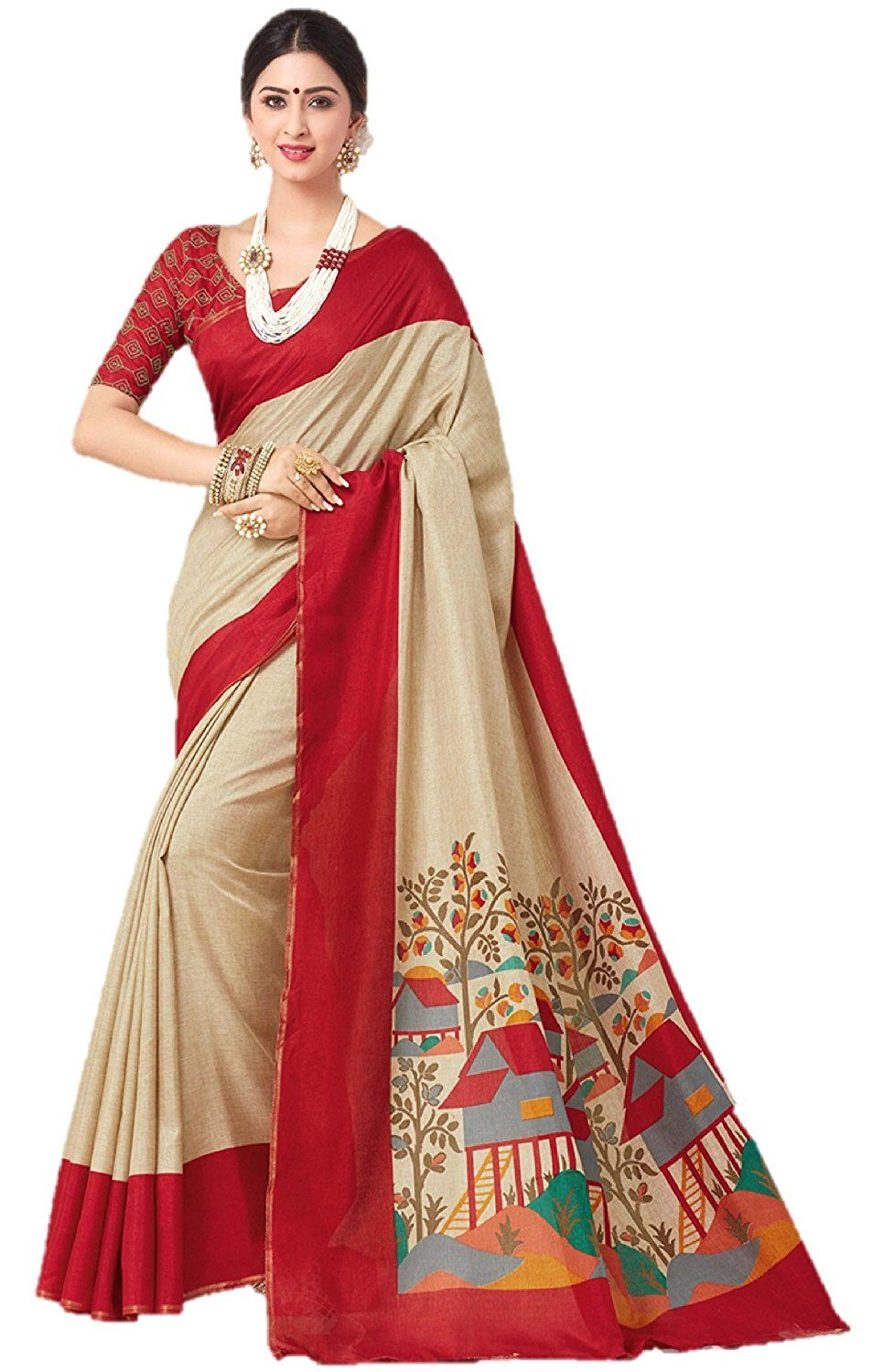 b0de95ffe8 Online Shopping Site for Handloom & Customize Products. Miraan Linen Saree  (Srh008_Red): Amazon.in: Clothing & Accessories
