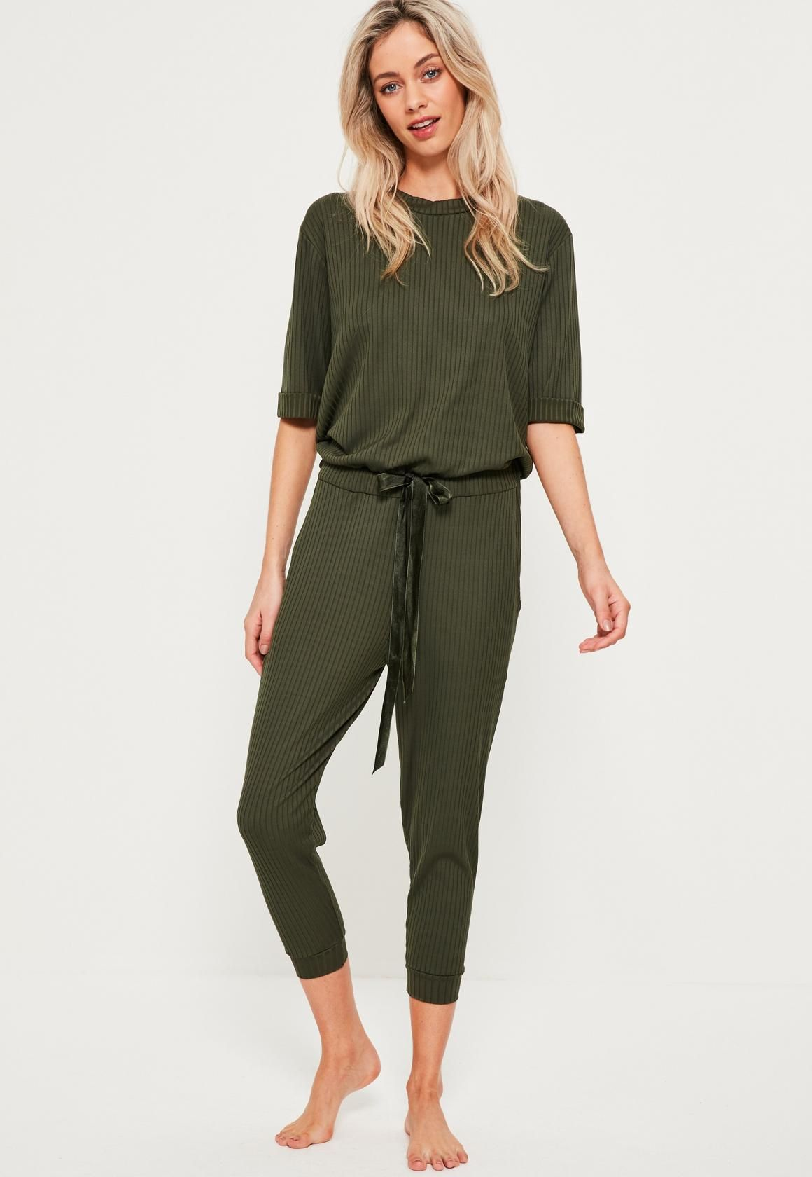 c610ca7fa279 Khaki Ribbed Slouch Lounge Jumpsuit - Missguided