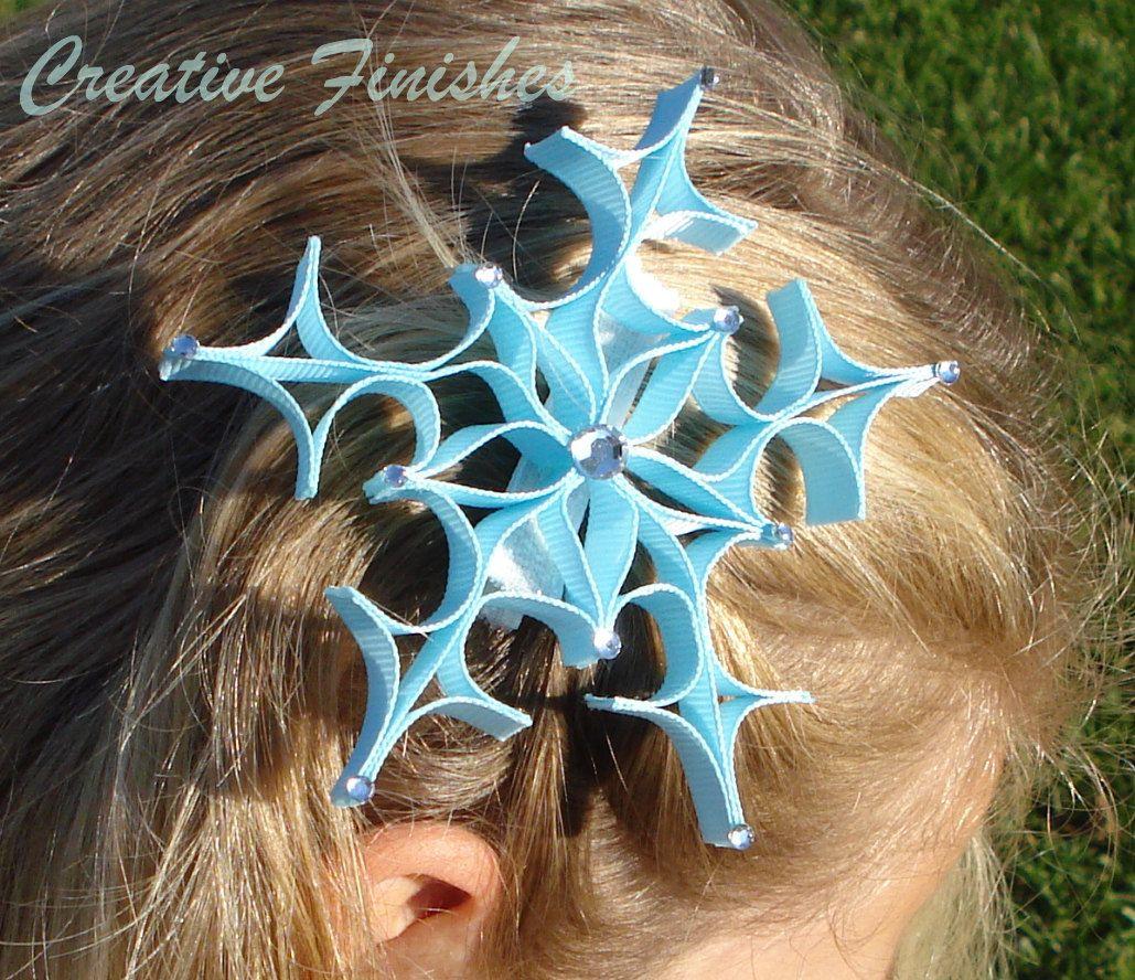 Snowflake Hair Clip in Light Blue Ribbon Sculpture. $7.00, via Etsy.