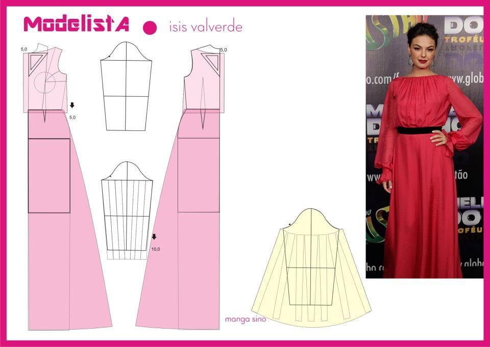 Vestido. Manga Sino. Isis Valverde | ModelistA | Pinterest ...
