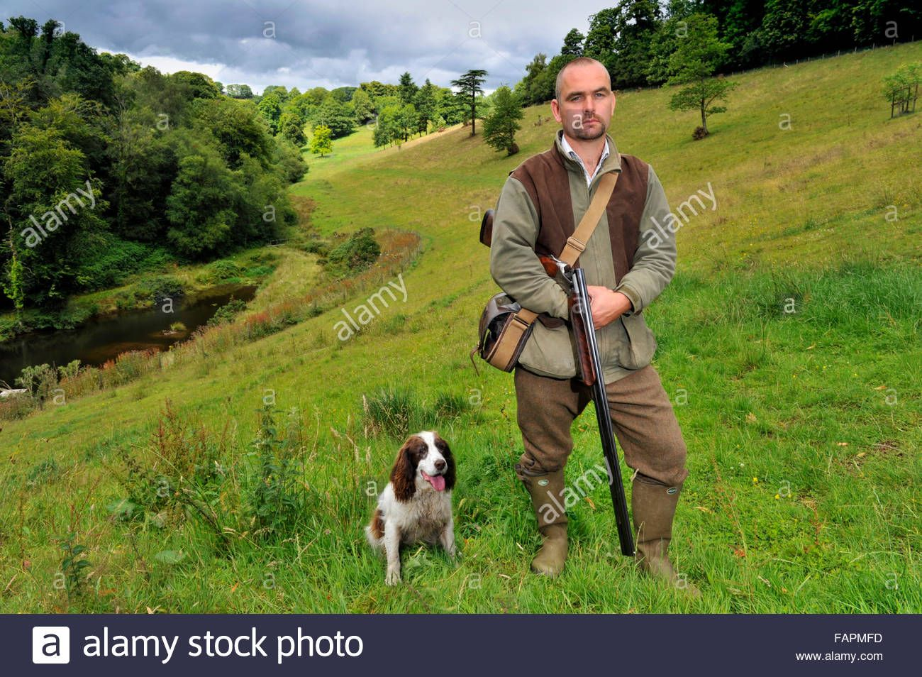 Darren Ninnis,gamekeeper with shotgun and dogs and a retained firefighter in Dulverton,Somerset