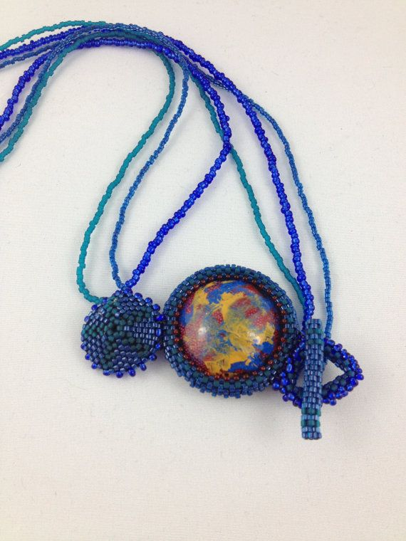 blue beaded resin cabochon pendant with by queenbeejewelgallery, $65.50