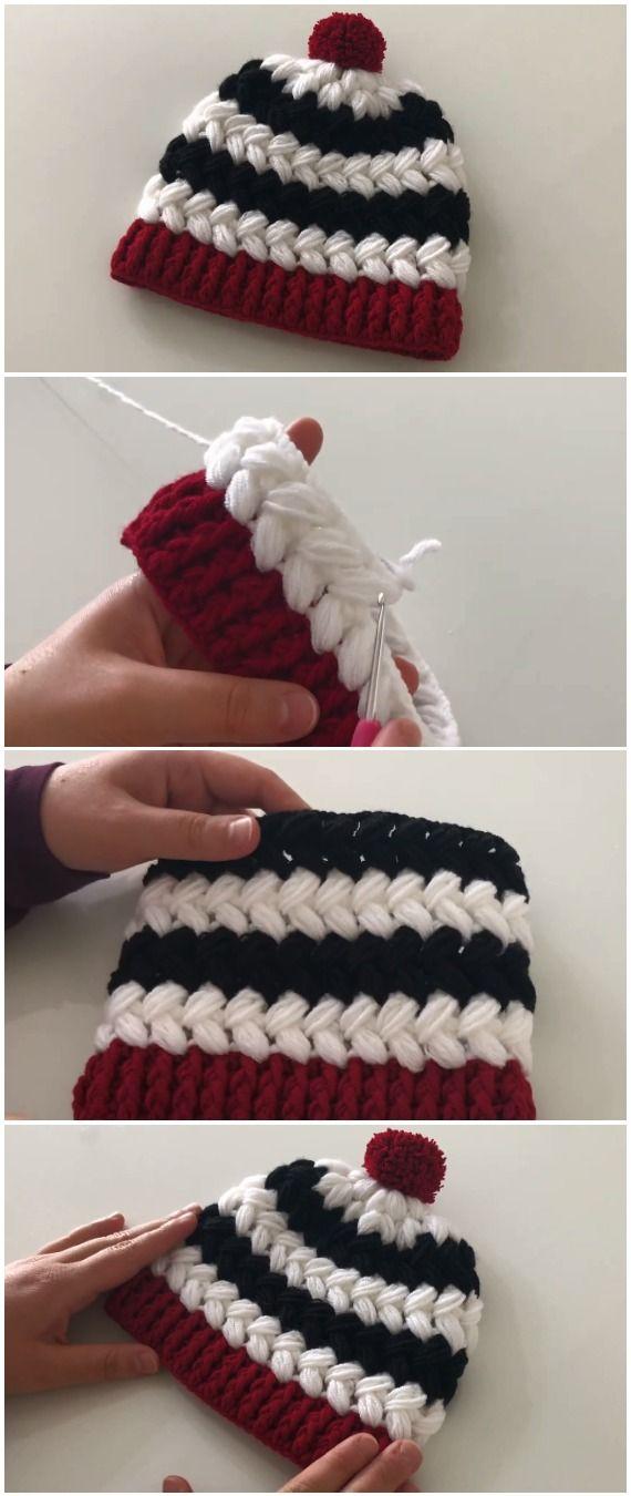 Crochet Easy Beanie Hat Cross Puff Stitch