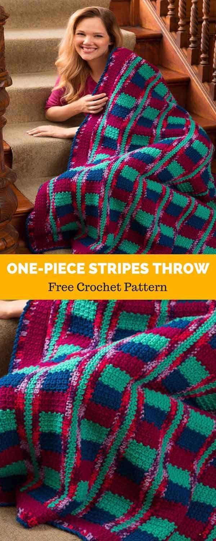 One-Piece Stripes Throw [ FREE CROCHET PATTERN | Afghan Crochet ...