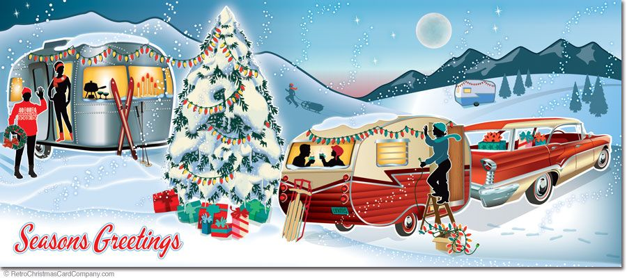 Old Fashioned Tree In Station Wagon Christmas Card