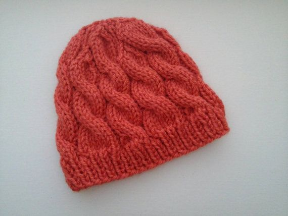 Handknit Orange Cable baby beanie hat by HollyAnlinDesign on Etsy