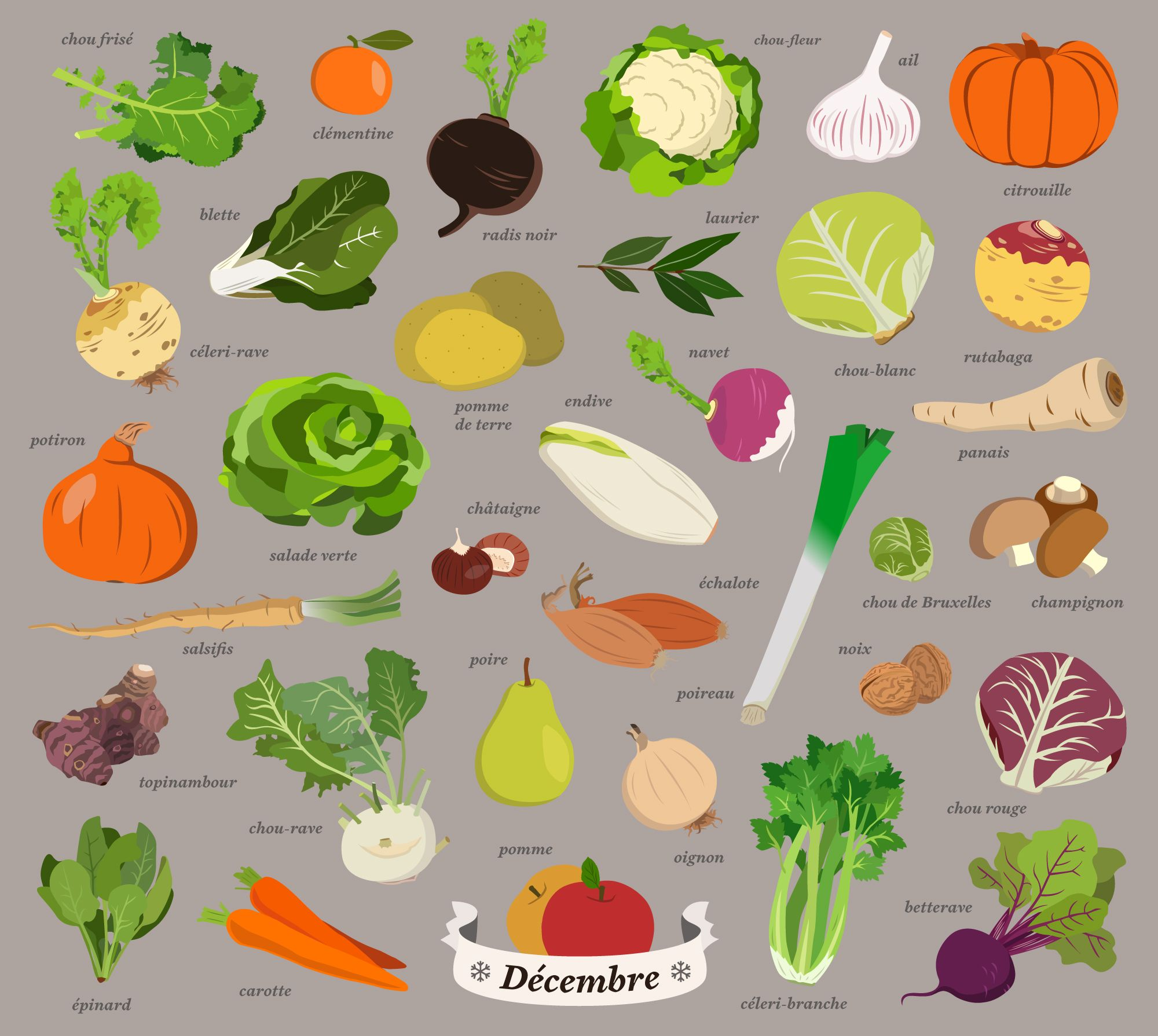 Fruits Et Legumes De Decembre Illustration Par Malo Malo 그래픽 디자인 채소 그래픽