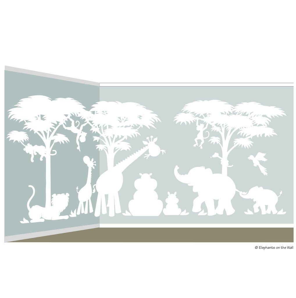 Large silhouette safari wall mural wall murals safari and nursery large silhouette safari wall mural amipublicfo Image collections