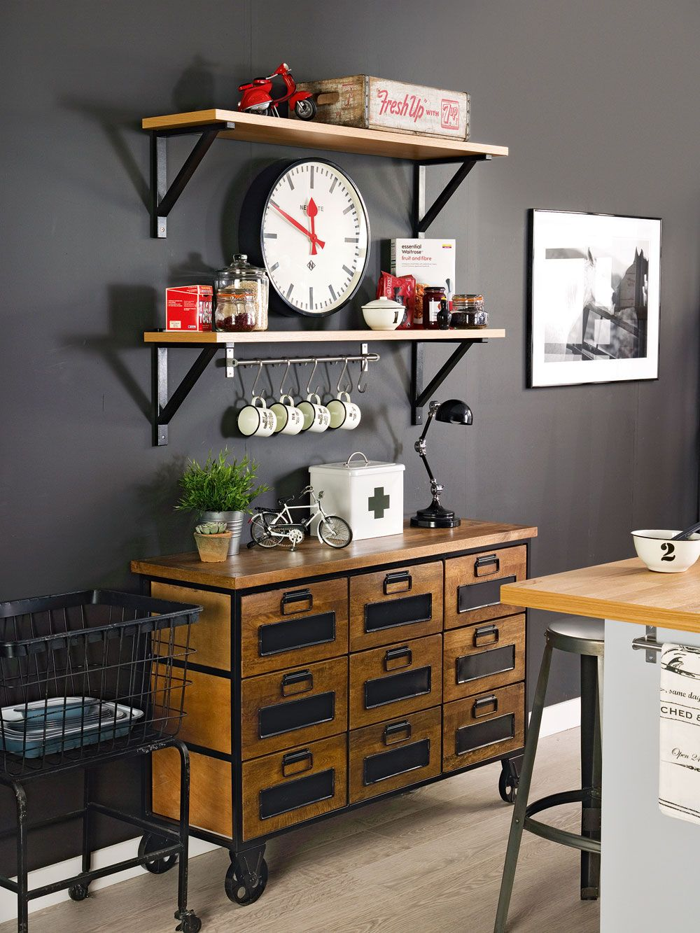 Industrial kitchen. Designed by Sophie Robinson for Ideal Home. Photograph by…