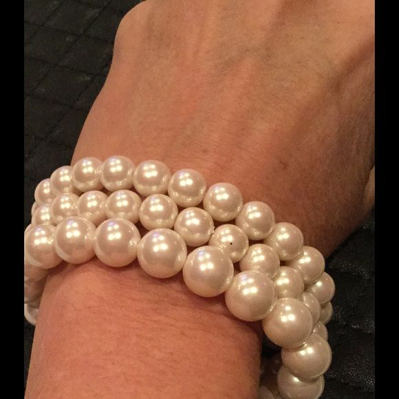 Three stretchy pearl bracelets. Three stretchy pearl bracelets, one-size-fits-all! Look great with anything and everything!  They can be worn together or individually whatever you prefer. Jewelry