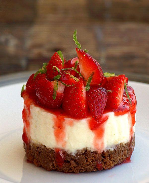 Strawberry Cheesecake Recipe: No-Bake Strawberry & Lime Cheesecakes