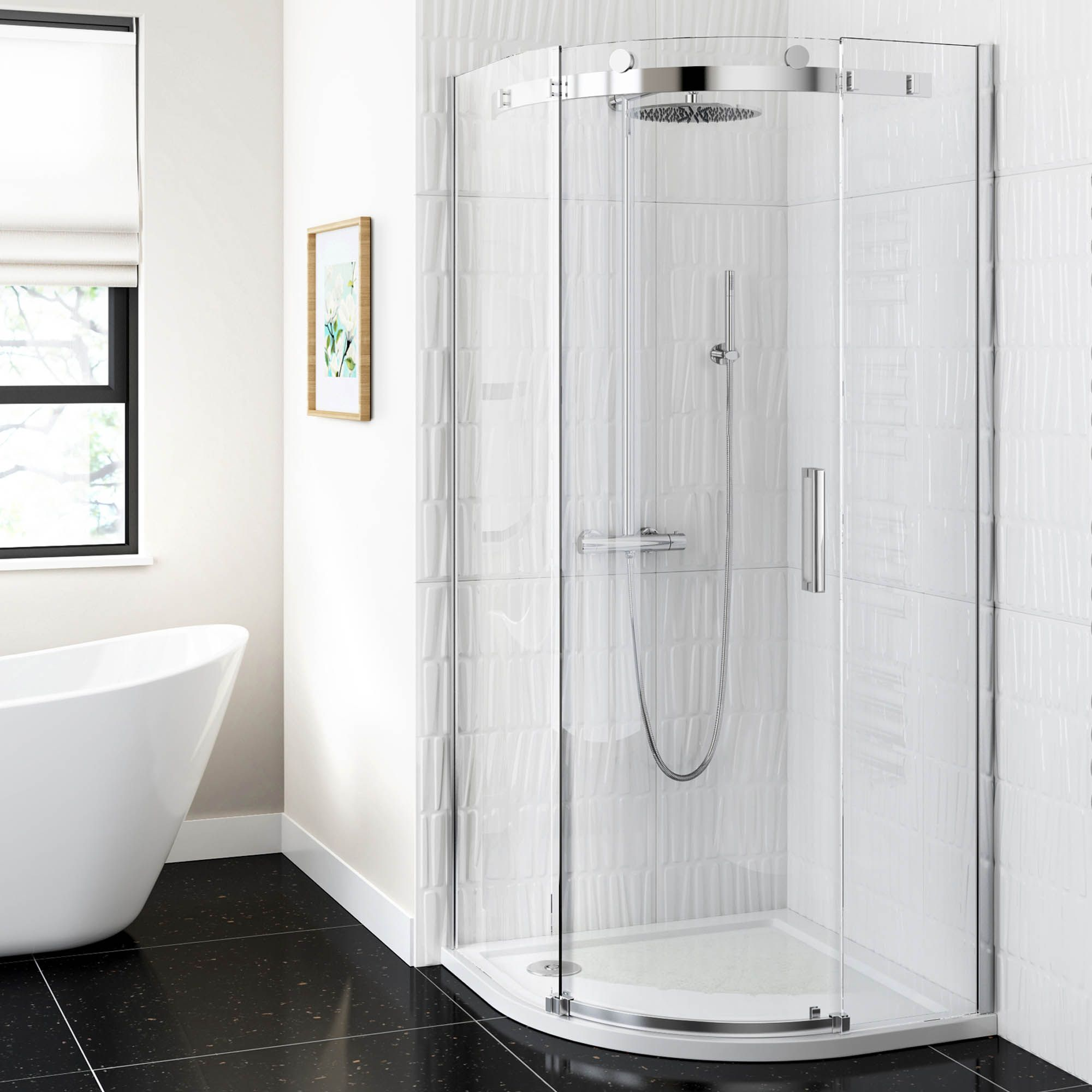 Freestanding bath, dark floor tiles and corner shower :: Shower ...