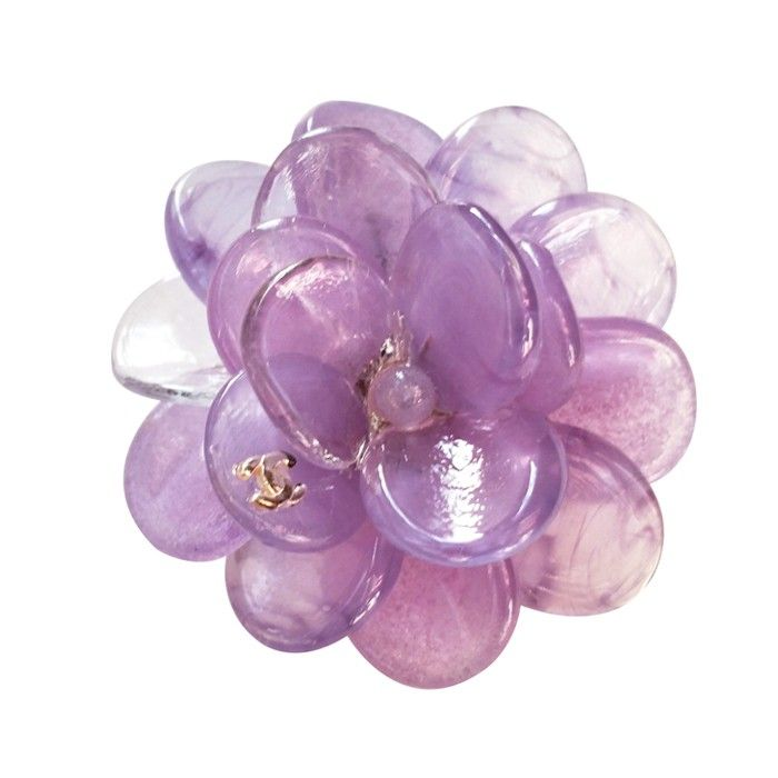 Chanel Purple Gripoix Glass Camellia Flower Pendant Brooch Purple Pendants Flower Pendant Camellia Flower