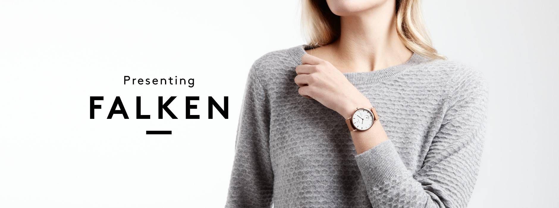 La collection de montres FALKEN est identifiable grâce au 'Falkeye', compteur supplémentaire à  6 h indiquant les secondes.