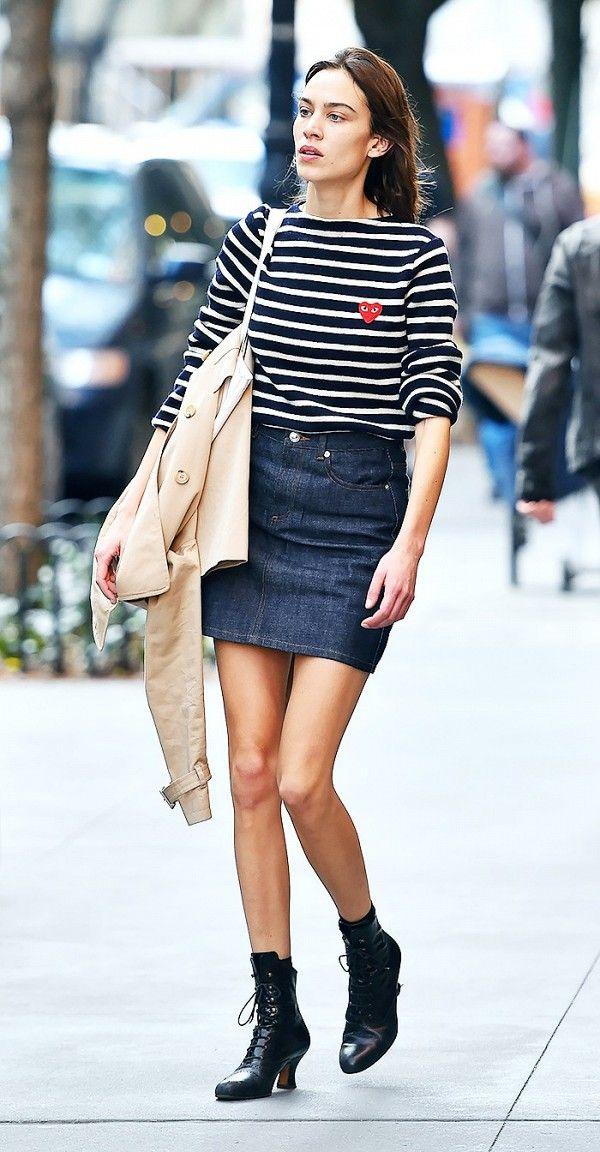 Striped Shirt + Denim Miniskirt + Ankle Boots