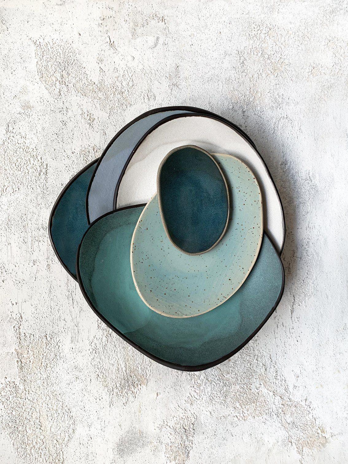 Keramik #handmade #geschirr #teller #blau #grau #grün #ceramics #ton #diy