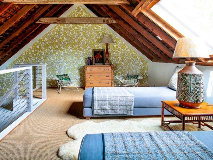 Dachgeschoss Einrichten Kinderzimmer Farbige Wandtapete Gemtlich    Innendesign Dachgeschoss