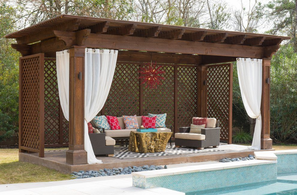 Pergola Curtains Swimming Pool U0026 Hot Tub Mediterranean With Outdoor Curtains