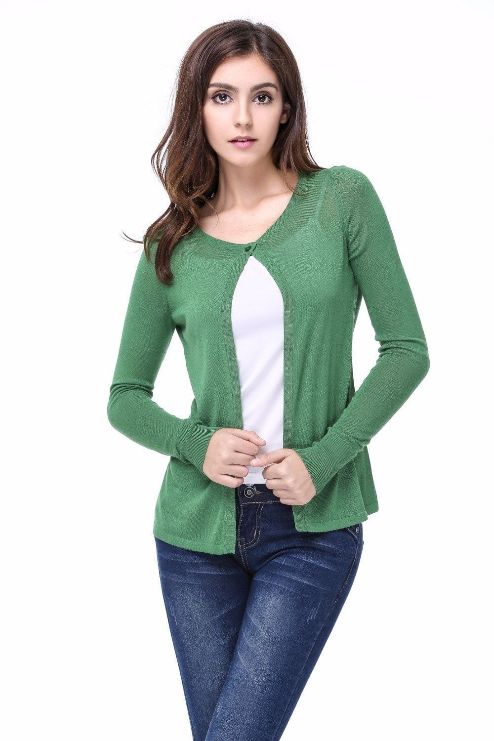 Fashion Simple Spring Thin Knitted Cardigans Female Casual Single ...