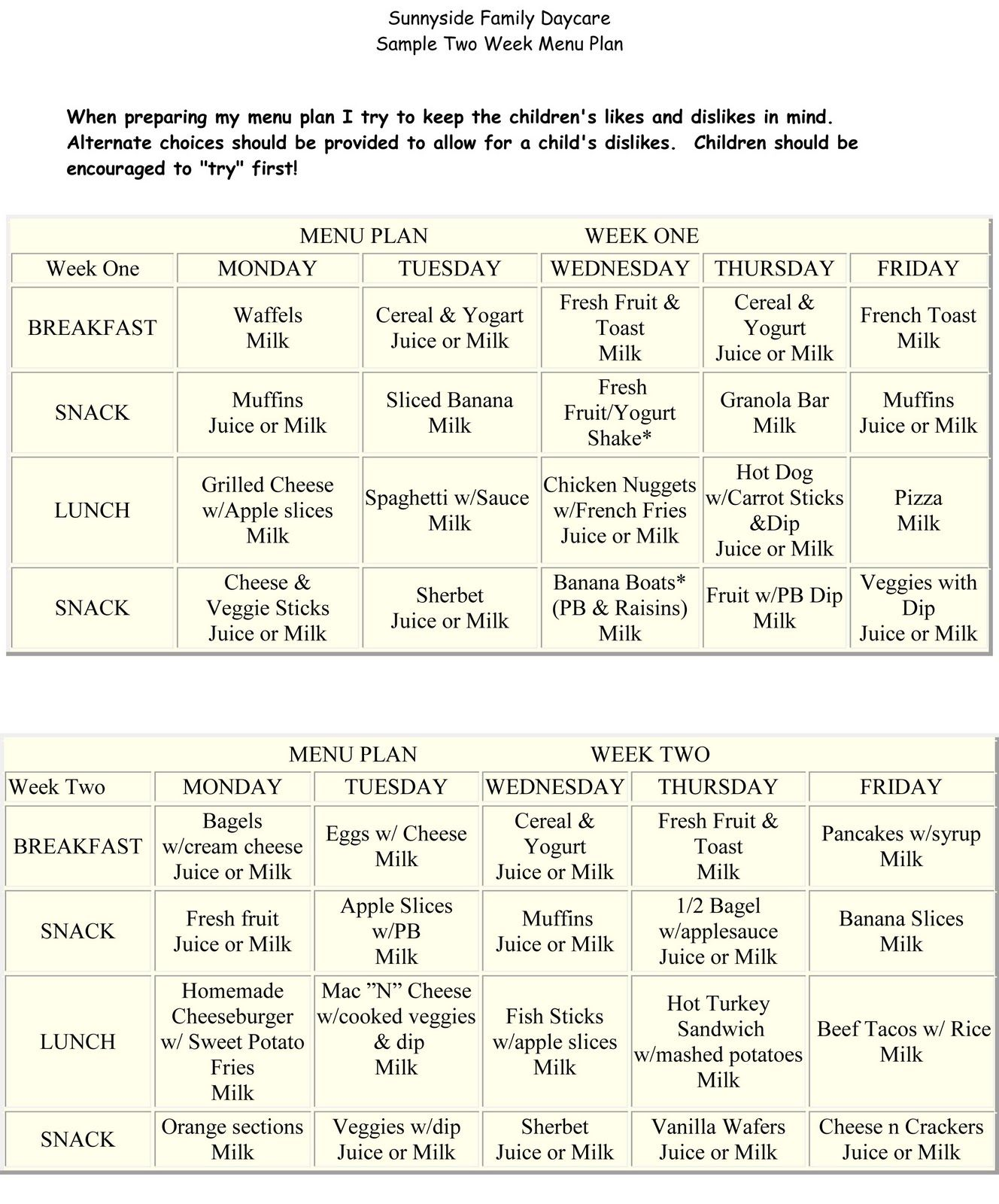 Sunnyside Family Daycare: Daily Schedule & Meal Plans | Daycare ...