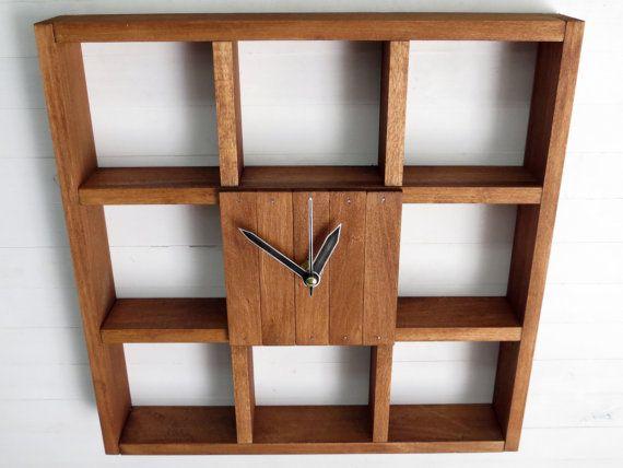 Reloj de pared grande estante de la caja de sombra centro de - pared de madera