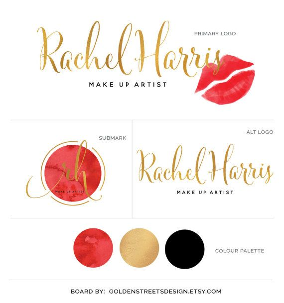 Red Lips Logo Gold Calligraphy Text Logo Prefect For Your