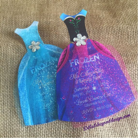 Elsa and Anna Frozen die-cut dress with Glitter Tulle skirt and Rhinestone - birthday invitation - customizable - Set of 12