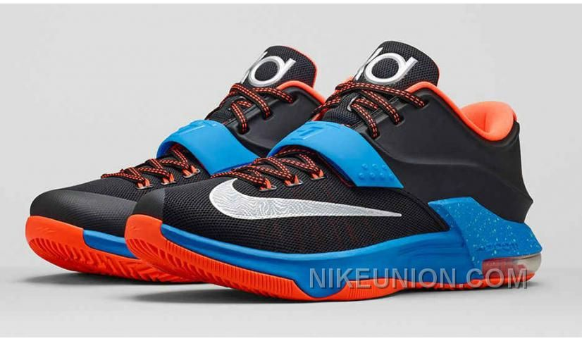 Nike KD 7 Black Metallic Silver Photo Blue Hyper Crimson 653996 004 New Basketball Shoes