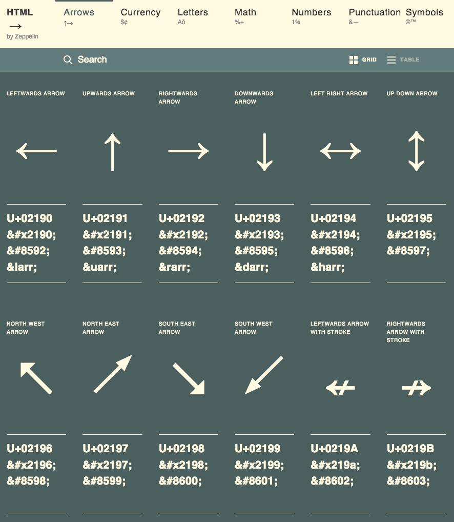 Htmlarrows Arrows Html symbols, Symbols, Arrow