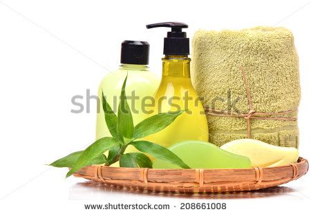 Soap, gel, towel  and cream with  bamboo  in the basket - stock photo