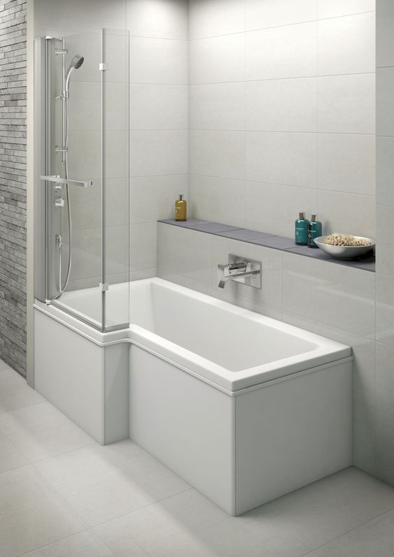 Moods L Shaped Shower Bath Screen With Integrated Mixer Shower