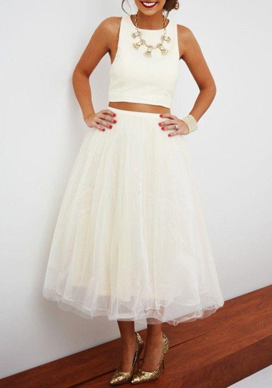 2448816b3 White Plain Sleeveless Crop Top And Puffy Tulle High Waisted Below Knee  Adorable Tutu Skirt