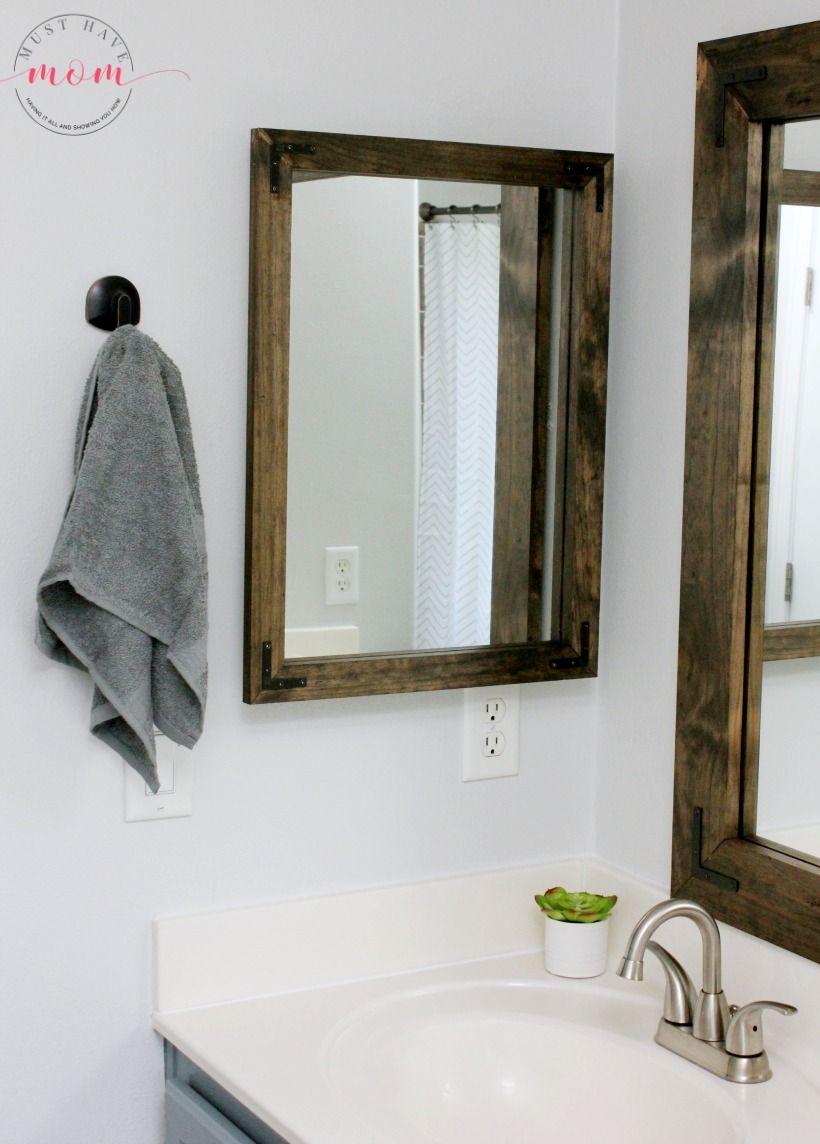 Peachy Farmhouse Style Diy Vanity Mirrors Tutorial Bathroom Diy Home Interior And Landscaping Mentranervesignezvosmurscom