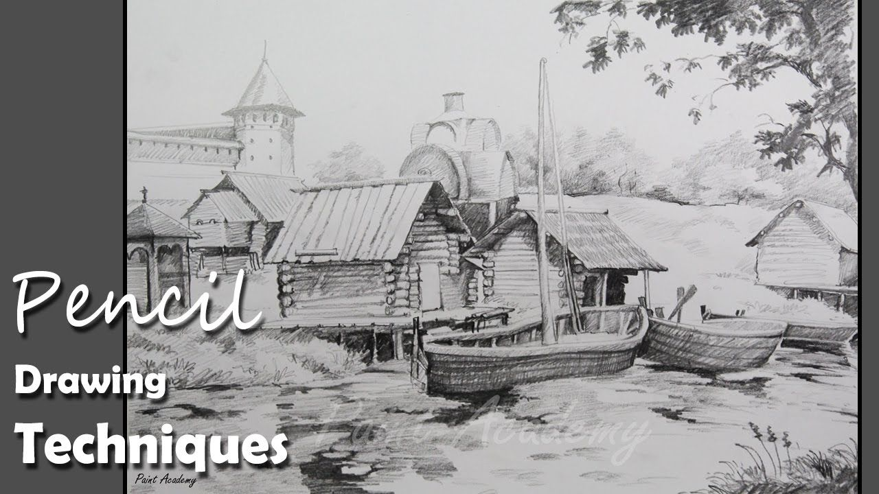 Pencil drawing techniques how to draw a beautiful landscape step