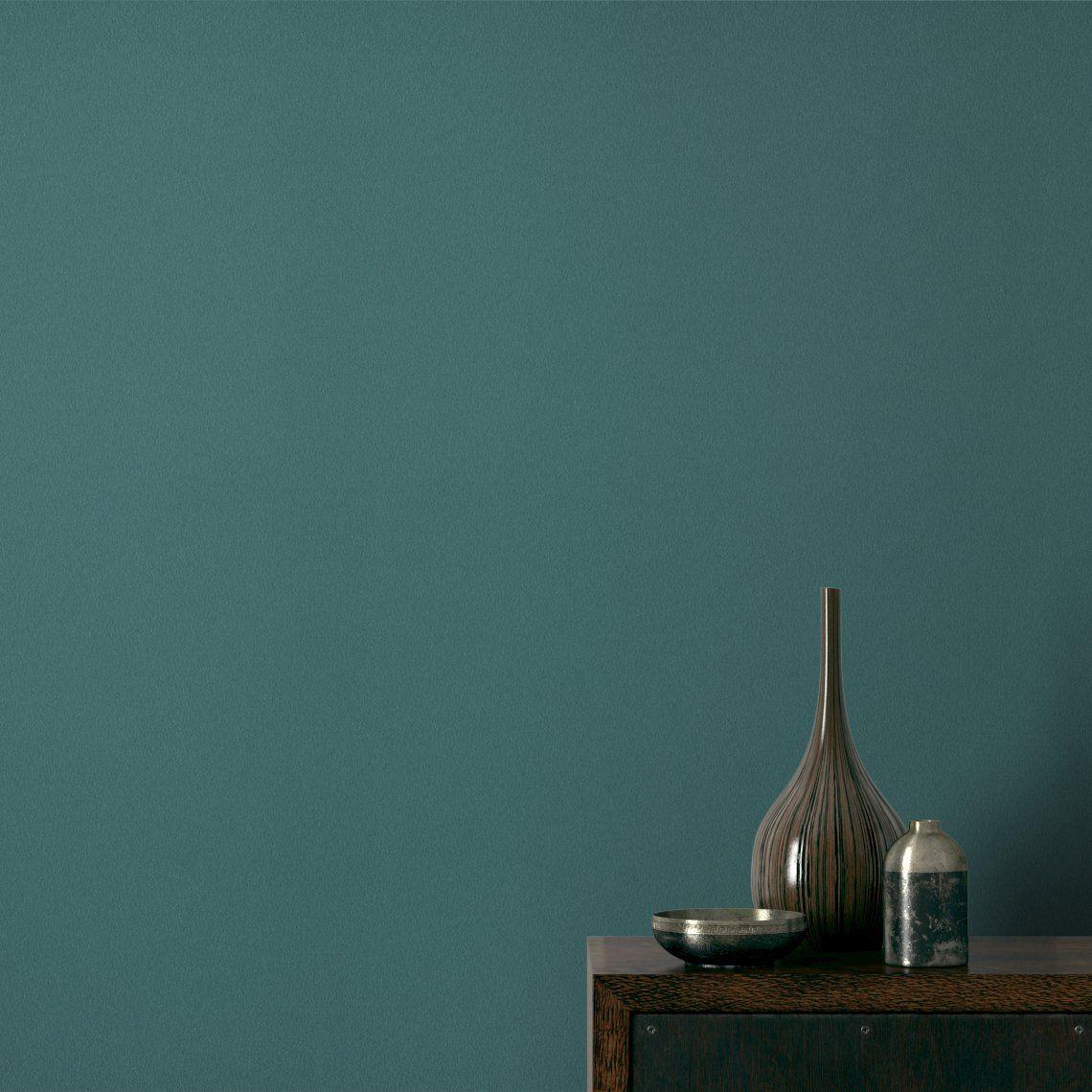 Papier Peint Eden Vinyle Sur Intisse Uni Trame Bleu Canard