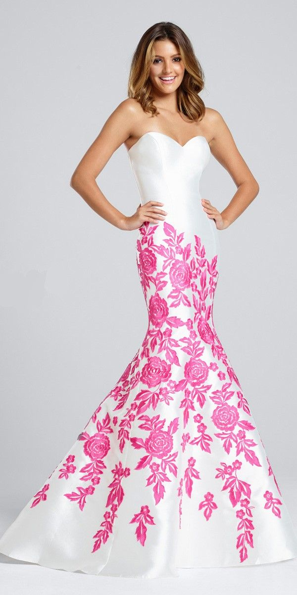 Lovely print prom dress featuring a rounded sweetheart neckline and ...