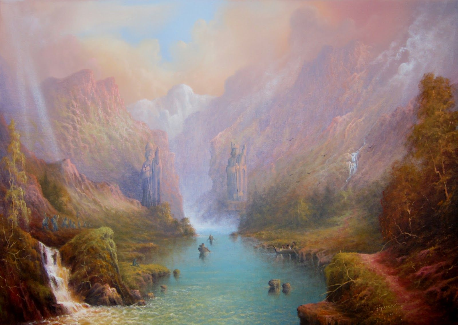 Anduin The Great River by Joe Gilronan | Blogspot | The remaining fellowship approach the Gates of Argonath (The Pillars of the Kings). On the East bank Uruks (o...