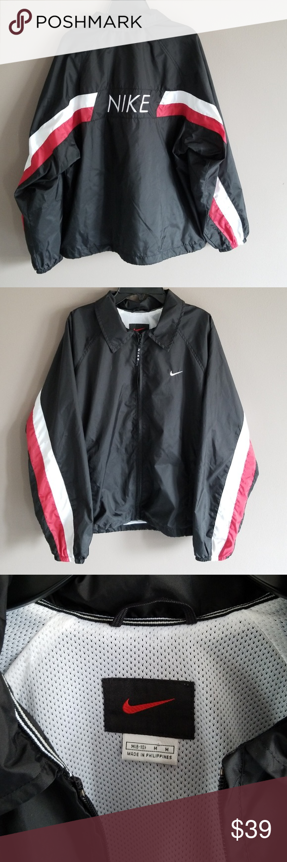 a1e7196e0 Vintage Nike Logo Black White Red ZipWindbreaker M By Nike, Vintage Fully  Lined Black windbreaker Jacket, Red and white striped design down arms, ...