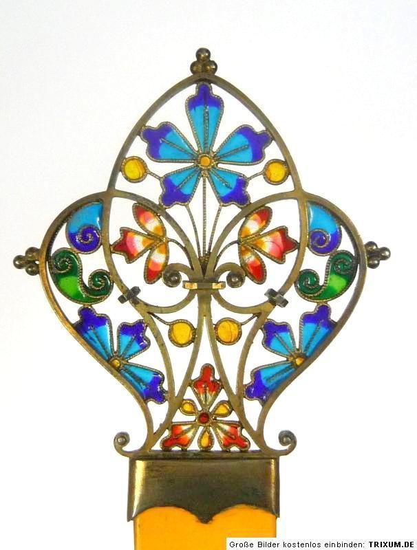 Plique a jour or stained glass hairpin, possibly Norwegian, late 19th century