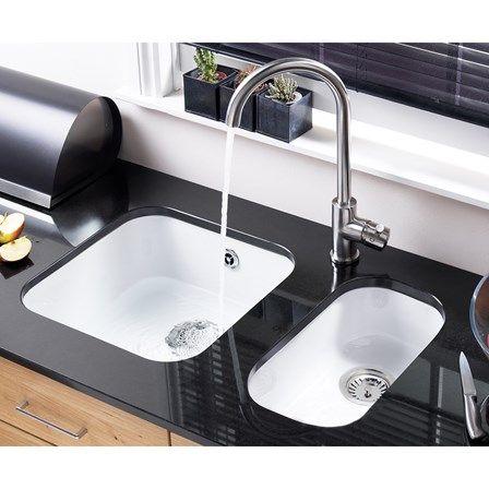 Astracast Lincoln White Ceramic 1 Bowl Undermount Sink Chrome