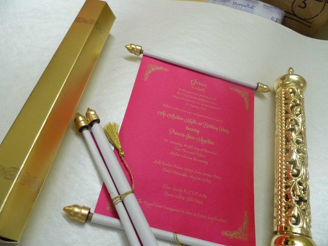Fuchsia Pink scroll in a golden Tube | Scroll Wedding Invitation ...