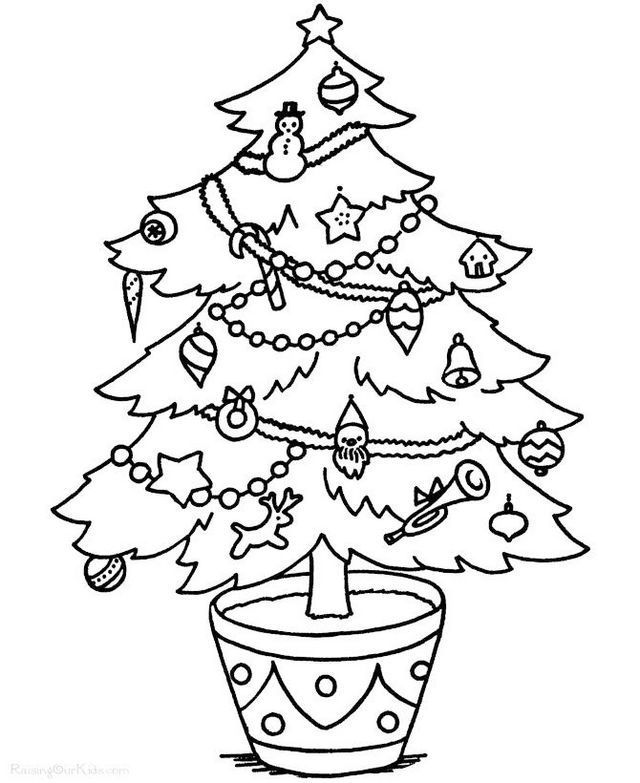 creative christmas tree coloring pages | tree coloring page | Pinterest