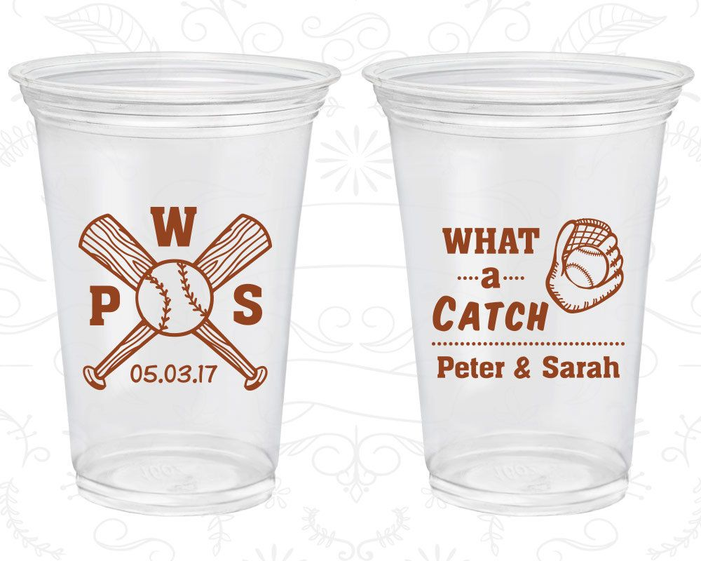 What A Catch Customized Clear Cups Sports Wedding Baseball Bat