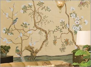 Marlia hand painted wallpaper mural from paul montgomery for Chinoiserie mural wallpaper