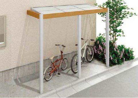 シンプルモダン外構にピッタリ プラスgの自転車置場屋根 外構