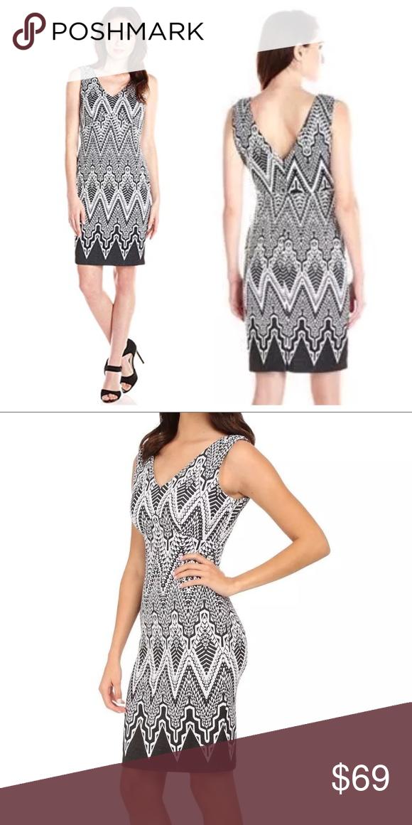 f45bc5f6231c7 Calvin Klein sleeveless ponte sheath dress v-neck Black and white geometric  print. Calvin Klein Dresses Mini